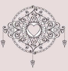 sketch of tattoo henna hearts vector image vector image
