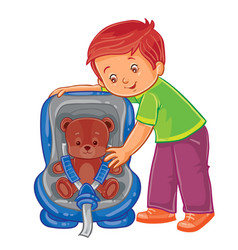 Small boy fastens his teddy bear in the children s vector
