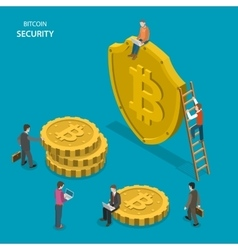 Bitcoin security isometric flat concept vector image