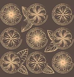 Decorative oranges lemons and limes in vintage vector image