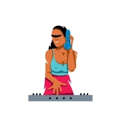 DJ girl Cartoon vector image