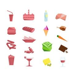 Foods and obesity flat design element set vector