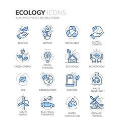 Line Ecology Icons vector image vector image