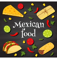 mexican food on a chalkboard vector image
