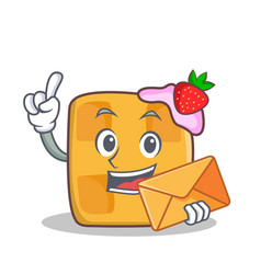 waffle character cartoon design with envelope vector image vector image