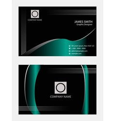 Wave blue black business cards template vector image vector image