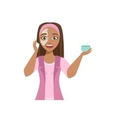 Woman Applying Mosturizing Cream Home Spa vector image