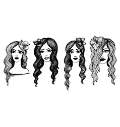 Long-haired girls with flowers vector image vector image
