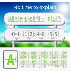 Mechanical scoreboard green alphabet with numbers vector image