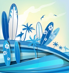 surfboard background on sky background vector image