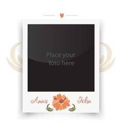 Vintage wedding photo frame Template for photo of vector image vector image