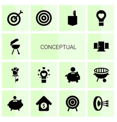 14 conceptual icons vector