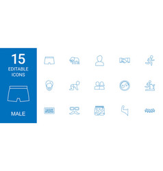 15 male icons vector