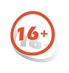 16 plus sign sticker orange vector image