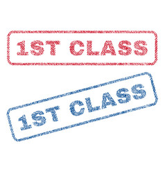 1st class textile stamps vector image