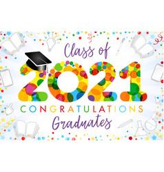 2021 yellow colouerd bubbles graduates vector image