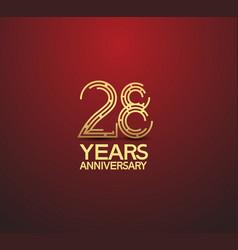 28 years golden anniversary logotype vector