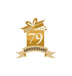 79 years gift box ribbon anniversary vector