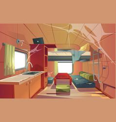 Abandoned camping trailer car interior motor home vector