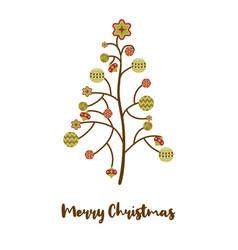 abstract christmas tree balls postcard vector image