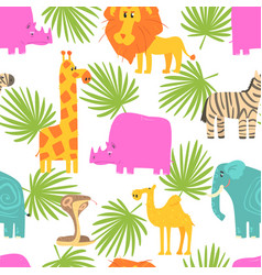 african animals seamless pattern repeating print vector image