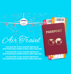 air travel banner with world map airplane passport vector image