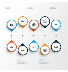 Auto icons colored line set with automobile vector