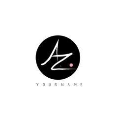 az handwritten brush letter logo design with vector image
