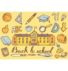 Back to school hand drawn vector image