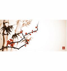 Bamboo tree and branch sakura in blossom in vector