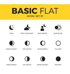 basic set moon icons vector image