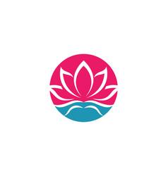 Beauty lotus flowers design logo template vector