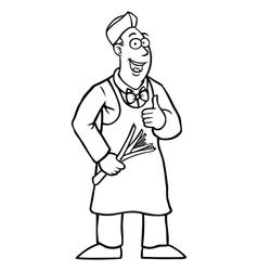 Black and white greengrocer with his thumbs up vector image