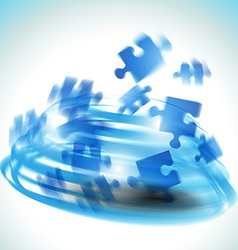 blue puzzle shape vector image