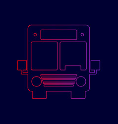 bus sign line icon with vector image