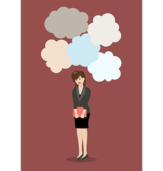 Business woman under a lot of trouble vector