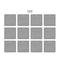 Calendar - year 2018 week starts from vector