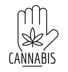 Cannabis in palm logo outline style vector