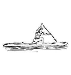 Canoe slalom player vector