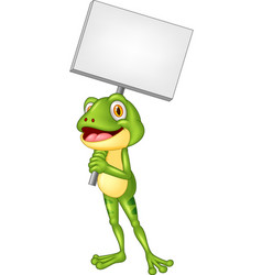 cartoon adorable frog holding blank sign vector image
