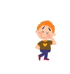 Cartoon character boy shy vector