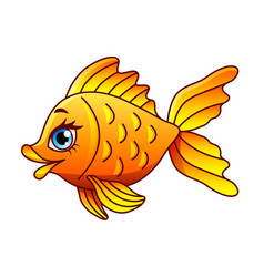 cartoon gold fish isolated vector image