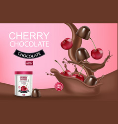 cherry chocolate realistic mock up chocolate vector image