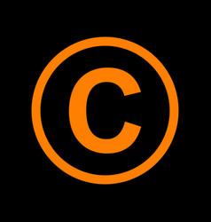Copyright sign orange icon on black vector