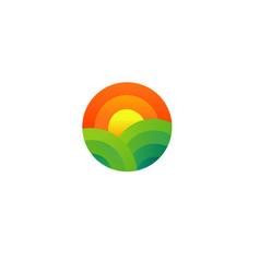 Creative geometric logo icon sun and field farm vector