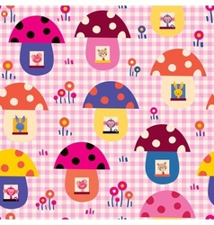 cute baby animals in mushroom houses kids pattern vector image