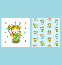 cute cartoon liberty girl and pattern vector image