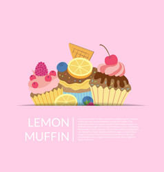 cute cartoon muffins or cupcakes background vector image