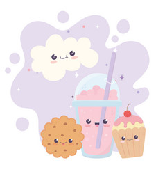 Cute milkshake cookie cupcake cloud kawaii cartoon vector