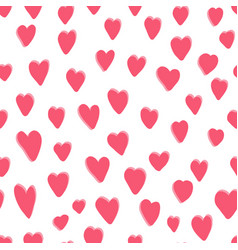 cute pattern with pink hand drawn hearts vector image